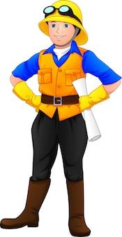 Süßer junge, der projektvorarbeiter-outfit trägt