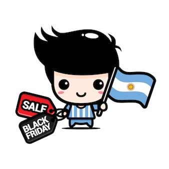 Süßer junge mit argentinien-flagge und schwarzem freitag-rabattgutschein
