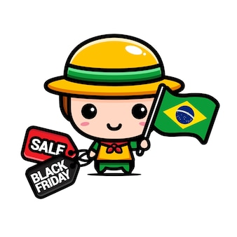 Süßer junge mit brasilien-flagge und schwarzem freitag-rabattgutschein