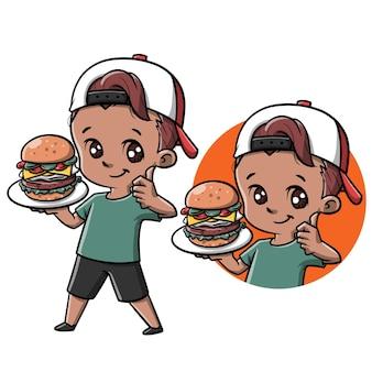 Süßer junge mit burger-cartoon