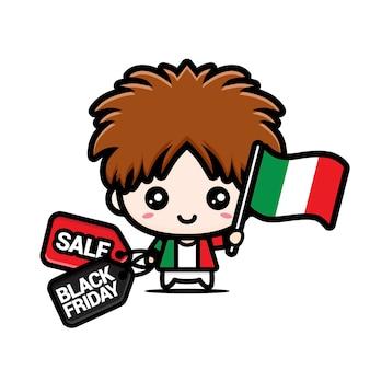 Süßer junge mit italienischer flagge und schwarzem freitagsrabatt