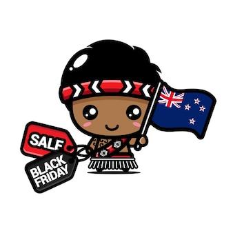 Süßer junge mit neuseeland-flagge und schwarzem freitag-rabattgutschein