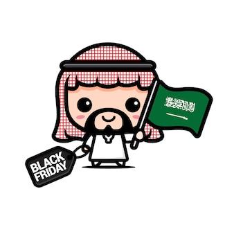 Süßer junge mit saudi-arabischer flagge und schwarzem freitag-rabattgutschein