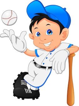 Süßer junge softballspieler posiert