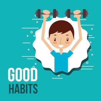 Süsser junge training aktivität gute gewohnheiten
