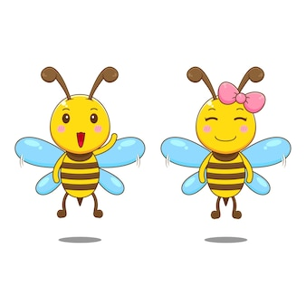 Süßer junge und mädchenbienecharakter isoliert