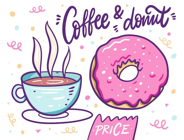 Süßer kaffee in tasse und rosa donut. cartoon-stil.