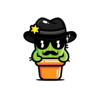 Süßer kaktus im sheriffkostüm