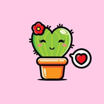 Süßer kaktus in form eines herzens