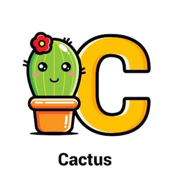 Süßer kaktus mit buchstabe c