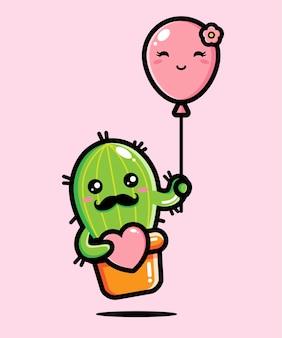 Süßer kaktus verliebt in süße luftballons
