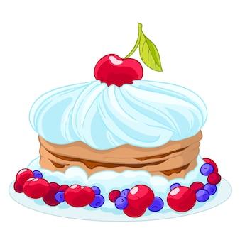 Süßer karikaturkuchen der ikone mit schlagsahne, kirschen, blaubeeren und beeren. behandle zum geburtstag.