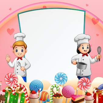 Süßer kartenhintergrund mit glücklichen zwei köchen