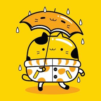 Süßer katzenmaskottchen-charakter, der einen regenschirm im flachen cartoon-stil trägt
