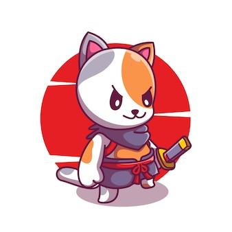 Süßer katzenritter mit samurai-maskottchen-illustration cartoon-vektor-symbol