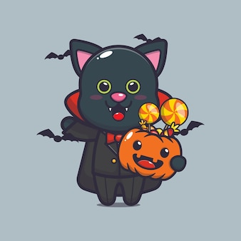 Süßer katzenvampir, der halloween-kürbis hält süße halloween-karikaturillustration