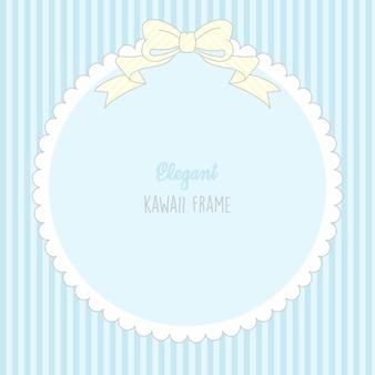 Süßer kawaii babyjunge niedlicher rahmen mit streifen nahtloses muster