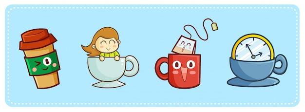 Süßer kawaii kaffee und tee für das töten der zeit