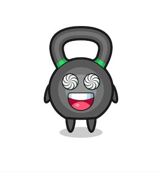 Süßer kettleball-charakter mit hypnotisierten augen, süßes stildesign für t-shirt, aufkleber, logo-element