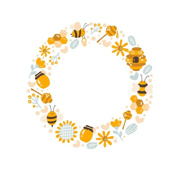 Süßer kinderhonigkranz mit sonnenblume, honiglöffel und biene im skandinavischen stil des flachen rahmenvektors