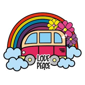 Süßer kleinbus mit regenbogen, wolken und blumen