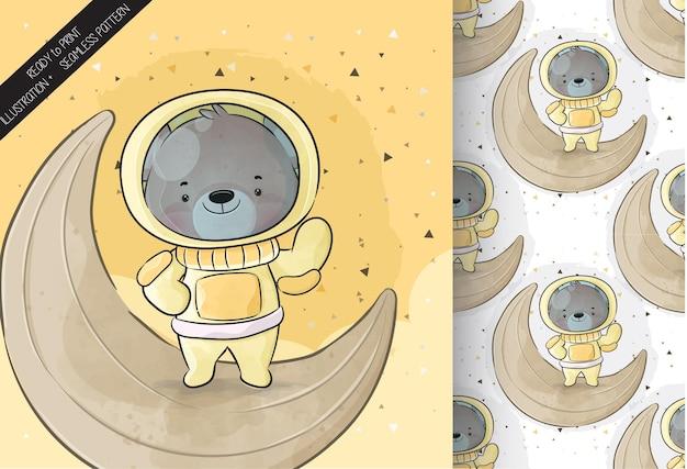 Süßer kleiner astronautenbär auf dem mond mit nahtlosem muster