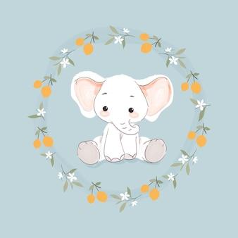 Süßer kleiner elefant in einem blumenkranz Premium Vektoren