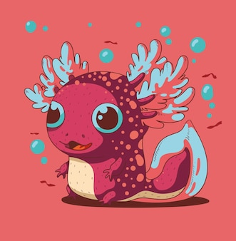 Süßer kleiner fröhlicher axolotl ist von etwas gefesselt