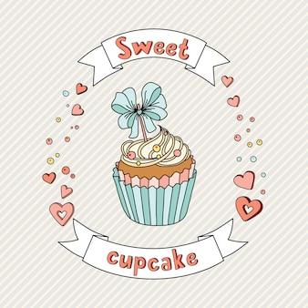 Süßer kleiner kuchen auf empfindlichem hintergrund. cupcake-sammlung