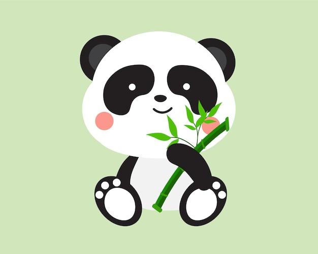 Süßer kleiner panda mit bambus auf grünem hintergrund