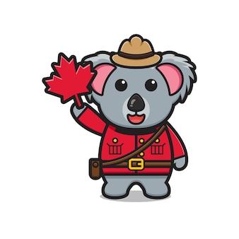 Süßer koala-charakter feierte kanada-tagesillustration