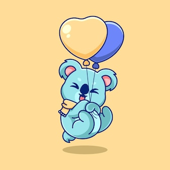 Süßer koala, der mit ballonkarikatur schwimmt