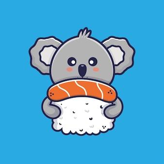 Süßer koala, der sushi-cartoon-illustration umarmt