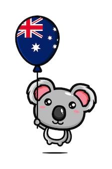 Süßer koala fliegt mit einem ballon