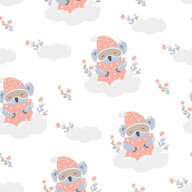 Süßer koala in einer maske zum schlafen auf einer wolke. nahtloses muster im skandinavischen stil.