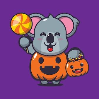 Süßer koala mit halloween-kürbiskostüm süße halloween-karikaturillustration