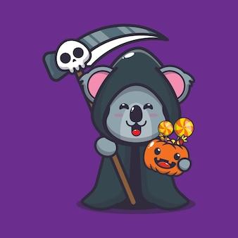 Süßer koala mit sensenmann-kostüm halloween süße halloween-cartoon-vektor-illustration
