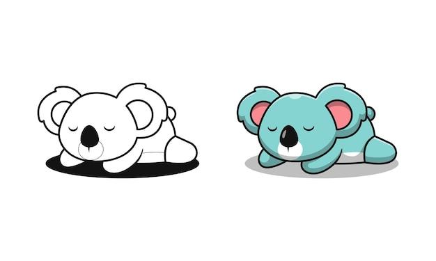 Süßer koala schläft cartoon malvorlagen für kinder
