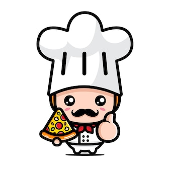 Süßer koch, der pizza mit guter pose hält