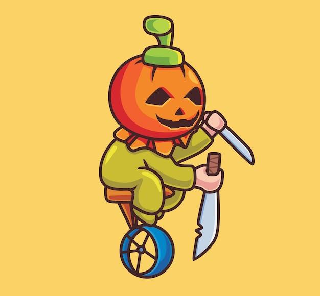 Süßer kostümclown mit kürbis. isolierte cartoon-halloween-illustration. flacher stil geeignet für sticker icon design premium logo vektor. maskottchen-charakter