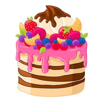 Süßer kuchen der ikonenkarikatur mit erdbeeren, eibischen, früchten und beeren. backen mit zitrusfrüchten.