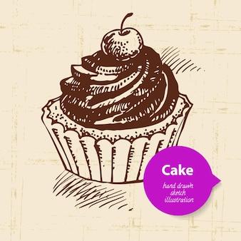 Süßer kuchenhintergrund der weinlese mit farbblase. handgezeichnete abbildung