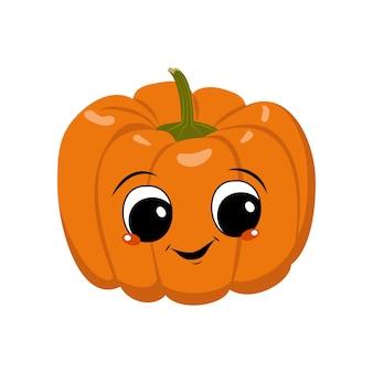 Süßer kürbischarakter mit freudengefühlen, gesicht, großen augen und breitem, glücklichem lächeln. festliche dekoration für halloween. boshafter gemüseheld