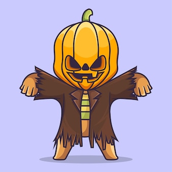 Süßer kürbiskopf halloween maskottchen kostüm charakter vektor illustration flach cartoon stil