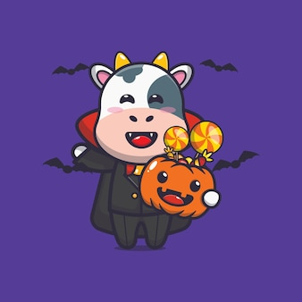 Süßer kuh vampir, der halloween-kürbis hält süße halloween-karikaturillustration