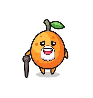 Süßer kumquat-opa hält einen stock, süßes design für t-shirt, aufkleber, logo-element