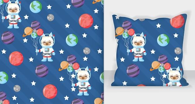Süßer lama-astronaut im offenen raum nahtlose muster mit planeten. gezeichnete illustration des vektors hand. nahtloses muster.