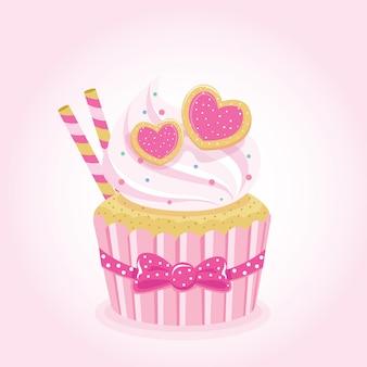 Süßer liebes-cupcake