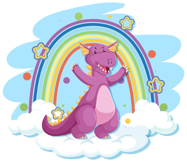 Süßer lila drache auf der wolke mit regenbogen