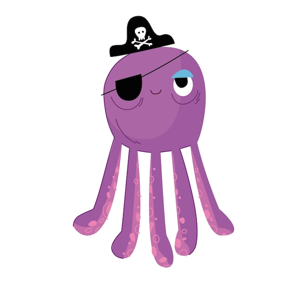 Süßer lila tintenfisch im schwarzen piratenhut mit totenkopf und knochen kraken-seeungeheuer